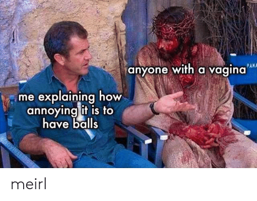 Vagina, MeIRL, and Annoying: PAN  anyone with a vagina  me explaining how  annoying it is to  have balls  aylossshoes meirl