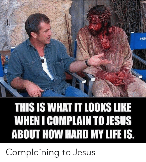 pana: PANA  THIS IS WHAT IT LOOKS LIKE  WHEN I COMPLAIN TO JESUS  ABOUT HOW HARD MY LIFE IS Complaining to Jesus