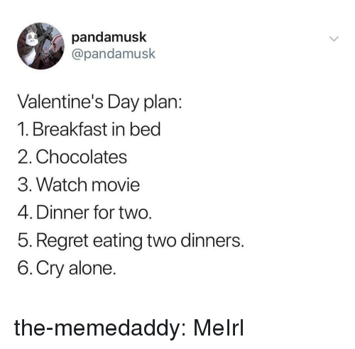 Being Alone, Regret, and Tumblr: pandamusk  @pandamusk  Valentine's Day plan  1. Breakfast in bed  2. Chocolates  3. Watch movie  4. Dinner for two  5. Regret eating two dinners  6.Cry alone the-memedaddy:  MeIrl