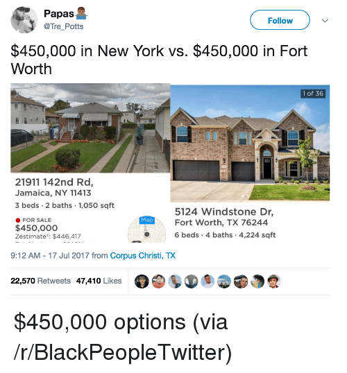 Blackpeopletwitter, New York, and Jamaica: Papas  @Tre_Potts  Follow  $450,000 in New York vs. $450,000 in Fort  Worth  1 of 36  21911 142nd Rd,  Jamaica, NY 11413  3 beds 2 baths 1,050 sqft  5124 Windstone Dr,  Fort Worth, TX 76244  6 beds 4 baths 4,224 sqft  Map  FOR SALE  $450,000o  Zestimate: $446,417  9:12 AM-17 Jul 2017 from Corpus Christi, TX  22,570 Retweets 47,410 Likes <p>$450,000 options (via /r/BlackPeopleTwitter)</p>