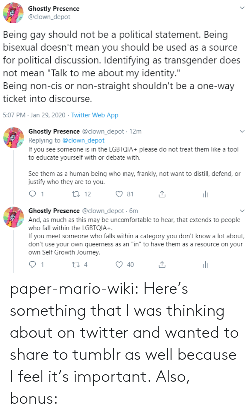 Mario: paper-mario-wiki:  Here's something that I was thinking about on twitter and wanted to share to tumblr as well because I feel it's important. Also, bonus:
