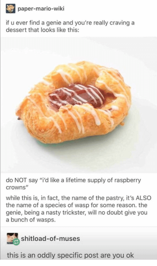 """trickster: paper-mario-wiki  if u ever find a genie and you're really craving a  dessert that looks like this:  do NOT say """"i'd like a lifetime supply of raspberry  crowns""""  while this is, in fact, the name of the pastry, it's ALSO  the name of a species of wasp for some reason. the  genie, being a nasty trickster, will no doubt give you  a bunch of wasps.  shitload-of-muses  this is an oddly specific post are you ok"""