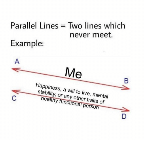 Live, Humans of Tumblr, and Happiness: Parallel Lines = Two lines which  never meet.  Example:  Happiness, a will to live, mental  stability, or any other traits of  healthy functional person