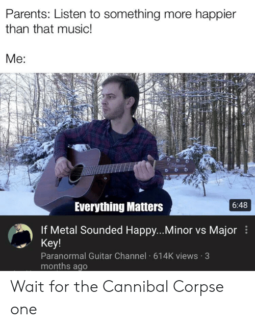 major key: Parents: Listen to something more happier  than that music!  Me:  Everything Matters  6:48  If Metal Sounded Happy...Minor vs Major  Key!  Paranormal Guitar Channel 614K views 3  months ago Wait for the Cannibal Corpse one