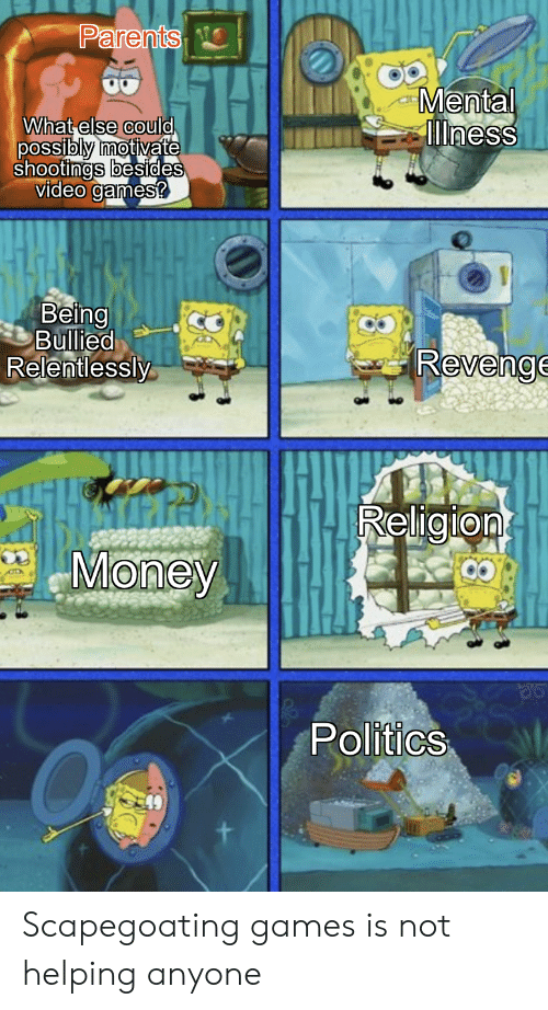 Money, Parents, and Politics: Parents  Mental  ness  What else could  possibly motivate  shootings besides  video games?  Being  Bullied  Relentlessly  Revenge  Religion  Money  Politics Scapegoating games is not helping anyone