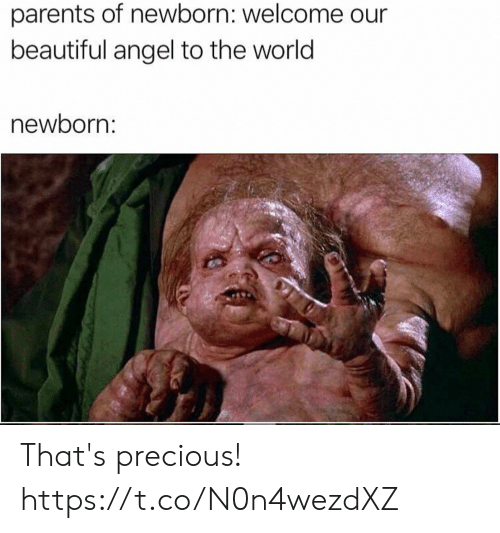 Beautiful, Funny, and Parents: parents of newborn: welcome  beautiful angel to the world  newborn: That's precious! https://t.co/N0n4wezdXZ