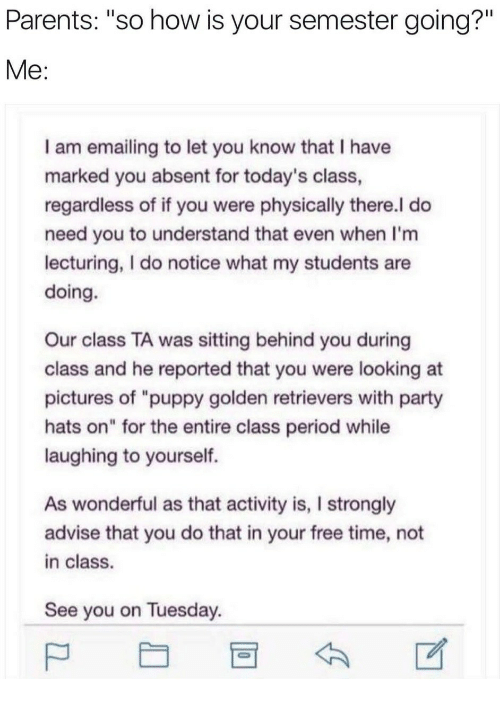 """Parents, Party, and Period: Parents: """"so how is your semester going?""""  I am emailing to let you know that I have  marked you absent for today's class  regardless of if you were physically there.l do  need you to understand that even when I'm  lecturing, I do notice what my students are  doing.  Our class TA was sitting behind you during  class and he reported that you were looking at  pictures of """"puppy golden retrievers with party  hats on"""" for the entire class period while  laughing to yourself.  As wonderful as that activity is, I strongly  advise that you do that in your free time, not  in class.  See you on Tuesday"""