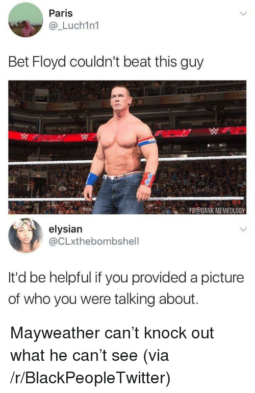 Blackpeopletwitter, Dank, and Mayweather: Paris  @_Luch1n1  Bet Floyd couldn't beat this guy  3  ACFB@DANK MEMEOLOGY  elysian  @CLxthebombshell  It'd be helpful if you provided a picture  of who you were talking about. <p>Mayweather can't knock out what he can't see (via /r/BlackPeopleTwitter)</p>