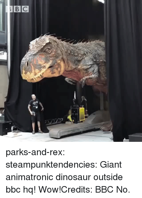 animatronic: parks-and-rex: steampunktendencies: Giant animatronic dinosaur outside bbc hq! Wow!Credits: BBC  No.