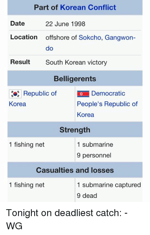 Submariner: Part of Korean Conflict  Date  22 June 1998  Location  offshore of Sokcho, Gangwon  do  Result  South Korean victory  Belligerents  Republic of  io Democratic  People's Republic of  Korea  Korea  Strength  1 fishing net  1 submarine  9 personnel  Casualties and losses  1 fishing net  1 submarine captured  9 dead Tonight on deadliest catch: -WG