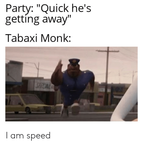 """Party, DnD, and Speed: Party: """"Quick he's  getting away""""  Tabaxi Monk:  SARDWE I am speed"""