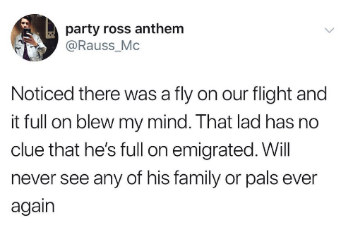 No Clue: party ross anthem  @Rauss_Mc  Noticed there was a fly on our flight and  it full on blew my mind. That lad has no  clue that he's full on emigrated. Will  never see any of his family or pals ever  again