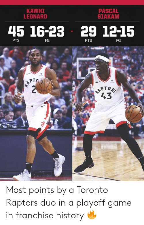 Memes, Toronto Raptors, and Kawhi Leonard: PASCAL  SIAKAM  KAWHI  LEONARD  45 16-23 29 1215  PTS  FG  PTS  FG  PT  43 Most points by a Toronto Raptors duo in a playoff game in franchise history 🔥