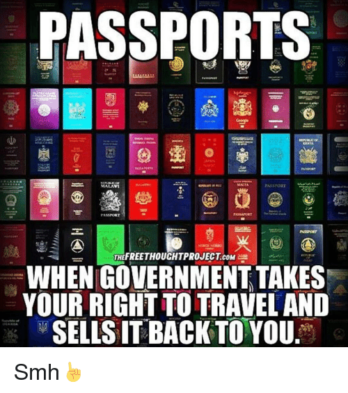 Memes, Passport, and 🤖: PASSPORTS  SLUTA  MALAVI  PASS NORT  THEFREETHOUCHTPROJECT coM  WHEN GOVERNMENT TAKES  YOUR RIGHT TO TRAVEL AND  SELLS IT BACK TO YOU Smh☝