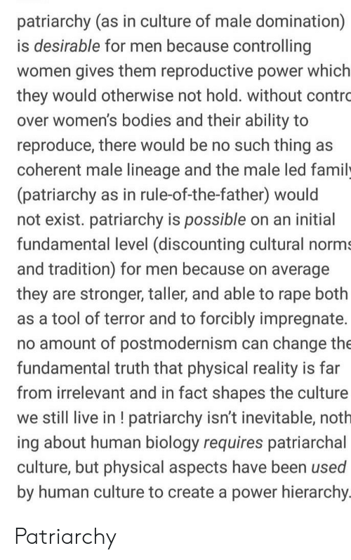 Bodies , Family, and Live: patriarchy (as in culture of male domination)  is desirable for men because controlling  women gives them reproductive power which  they would otherwise not hold. without contro  over women's bodies and their ability to  reproduce, there would be no such thing as  coherent male lineage and the male led family  (patriarchy as in rule-of-the-father) would  not exist. patriarchy is possible on an initial  fundamental level (discounting cultural norms  and tradition) for men because on average  they are stronger, taller, and able to rape both  as a tool of terror and to forcibly impregnate.  no amount of postmodernism can change the  fundamental truth that physical reality is far  from irrelevant and in fact shapes the culture  we still live in! patriarchy isn't inevitable, noth  ing about human biology requires patriarchal  culture, but physical aspects have been used  by human culture to create a power hierarchy. Patriarchy