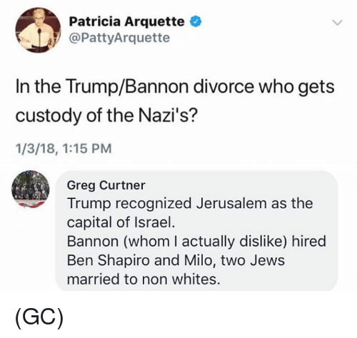 Memes, Capital, and Israel: Patricia Arquette  @PattyArquette  In the Trump/Bannon divorce who gets  custody of the Nazi's?  1/3/18, 1:15 PM  Greg Curtner  Trump recognized Jerusalem as the  capital of Israel  Bannon (whom I actually dislike) hired  Ben Shapiro and Milo, two Jews  married to non whites. (GC)
