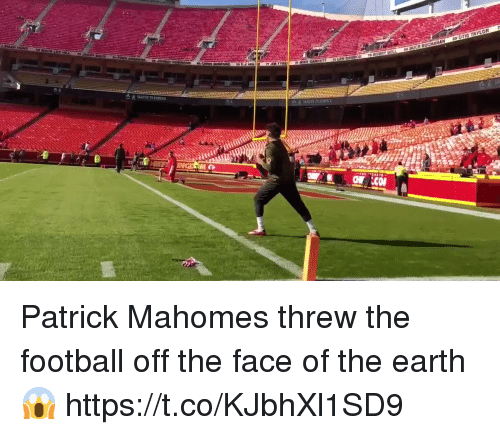 Football, Nfl, and Sports: Patrick Mahomes threw the football off the face of the earth 😱 https://t.co/KJbhXl1SD9