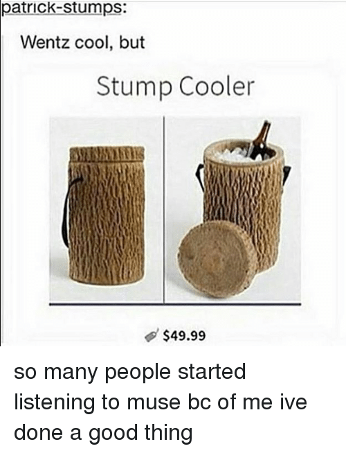 mused: patrick-stumps:  Wentz cool, but  Stump Cooler  $49.99 so many people started listening to muse bc of me ive done a good thing