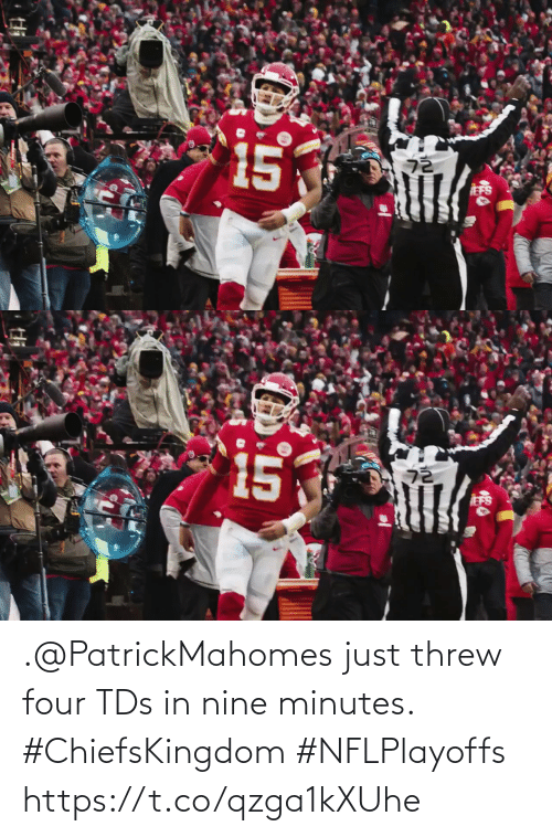 Four: .@PatrickMahomes just threw four TDs in nine minutes. #ChiefsKingdom #NFLPlayoffs https://t.co/qzga1kXUhe
