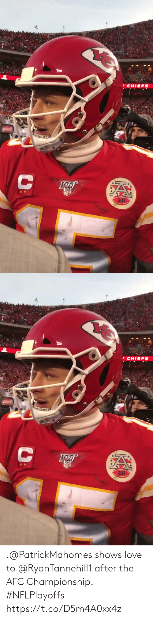 Shows: .@PatrickMahomes shows love to @RyanTannehill1 after the AFC Championship. #NFLPlayoffs https://t.co/D5m4A0xx4z