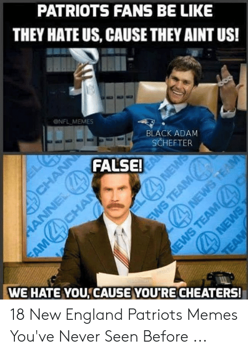 England Patriots Memes: PATRIOTS FANS BE LIKE  THEY HATE US, CAUSE THEY AINT US!  ONFL MEMES  BLACK ADAM  SCHEFTER  FALSE  WE HATE YOU,CAUSE YOU'RE CHEATERS! 18 New England Patriots Memes You've Never Seen Before ...