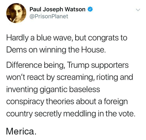 Memes, Blue, and House: Paul Joseph Watson  @PrisonPlanet  Hardly a blue wave, but congrats to  Dems on winning the House.  Difference being, Trump supporters  won't react by screaming, rioting and  inventing gigantic baseless  conspiracy theories about a foreign  country secretly meddling in the vote. Merica.