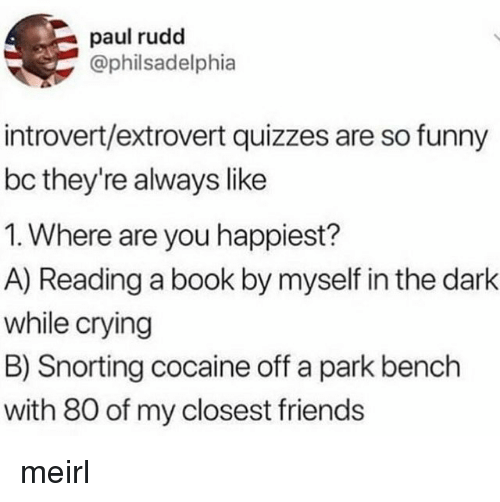 Snorting: paul rudd  @philsadelphia  introvert/extrovert quizzes are so funny  bc they're always like  1. Where are you happiest?  A) Reading a book by myself in the dark  while crying  B) Snorting cocaine off a park bench  with 80 of my closest friends meirl