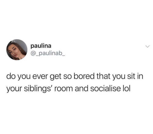 Bored, Lol, and You: paulina  @_paulinab_  do you ever get so bored that you sit in  your siblings' room and socialise lol