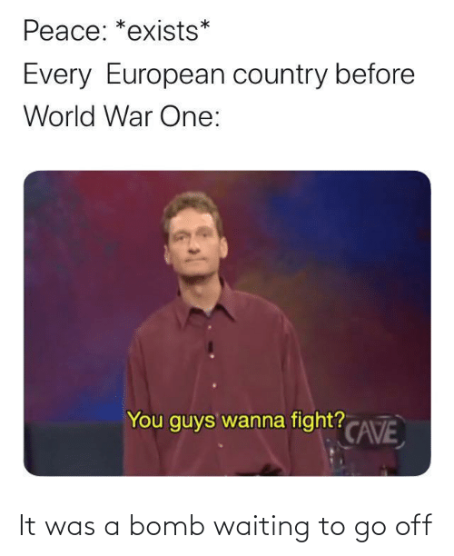 bomb: Peace: *exists*  Every European country before  World War One:  You guys wanna fight? CAVE It was a bomb waiting to go off