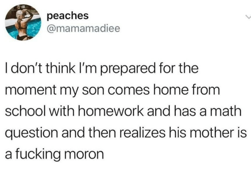 Fucking, School, and Home: peaches  @mamamadiee  I don't think I'm prepared for the  moment my son comes home from  school with homework and has a math  question and then realizes his mother is  a fucking moron