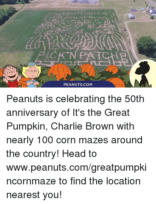 it's the great pumpkin charlie brown: PEANUTS COM Peanuts is celebrating the 50th anniversary of It's the Great Pumpkin, Charlie Brown with nearly 100 corn mazes around the country! Head to www.peanuts.com/greatpumpkincornmaze to find the location nearest you!