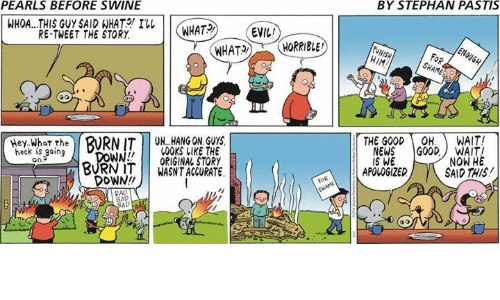 Memes, News, and Evil: PEARLS BEFORE SWINE  BY STEPHAN PASTIS  WHOA...THIS GUY SAID WHAT  I  WHAT2  EVIL  RE-TWEET THE STORY  HIM  FoR  Hey What the  THE GOODOH. WAIT!  BURNIT UH. HANG ON GUY  00KS LIKE THE  WORIGINAL STORY  BURN ITWASNT ACCURATE  heck is going  on  NEWS GOODWAIT  IS WE  NOW HE  SAID THIS  APOLOGIZED  DOWN!  AD