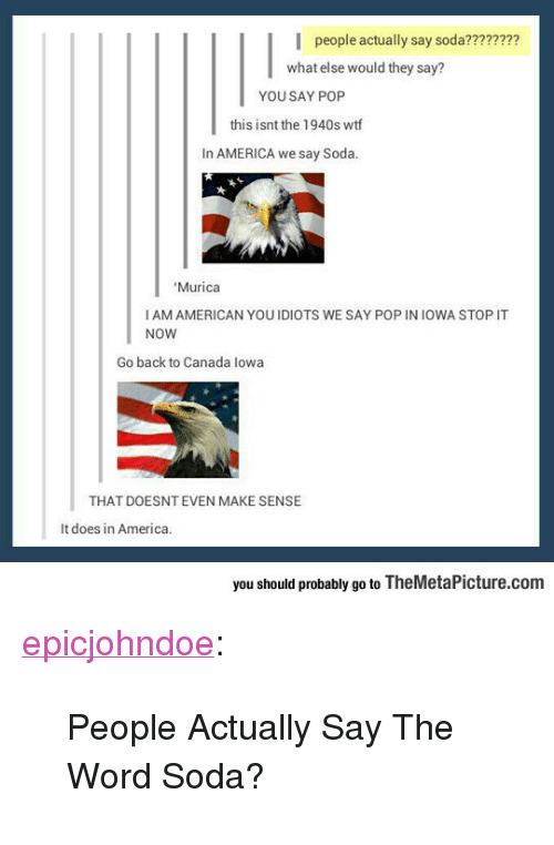 """America, Pop, and Soda: people actually say soda????????  what else would they say?  YOU SAY POP  this isnt the 1940s wtf  In AMERICA we say Soda  Murica  I AM AMERICAN YOUIDIOTS WE SAY POP IN IOWA STOP IT  NOW  Go back to Canada lowa  THAT DOESNT EVEN MAKE SENSE  It does in America.  you should probably go to TheMetaPicture.com <p><a href=""""https://epicjohndoe.tumblr.com/post/172729862874/people-actually-say-the-word-soda"""" class=""""tumblr_blog"""">epicjohndoe</a>:</p>  <blockquote><p>People Actually Say The Word Soda?</p></blockquote>"""
