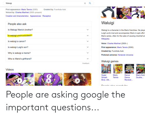Asking: People are asking google the important questions...