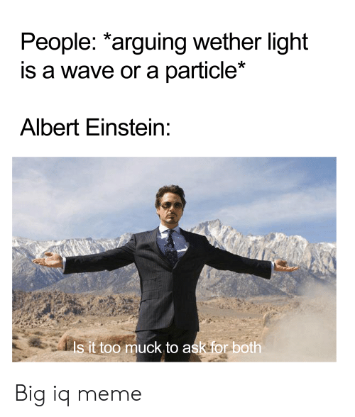 Albert Einstein, Meme, and Einstein: People: *arguing wether light  is a wave or a particle*  Albert Einstein:  Is it too muck to ask for both Big iq meme