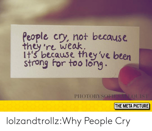 Tumblr, Blog, and Strong: People cry, not because  they 're weak.  it's because they've been  strong for too long  PIHOTOBYSO  THE META PICTURE lolzandtrollz:Why People Cry