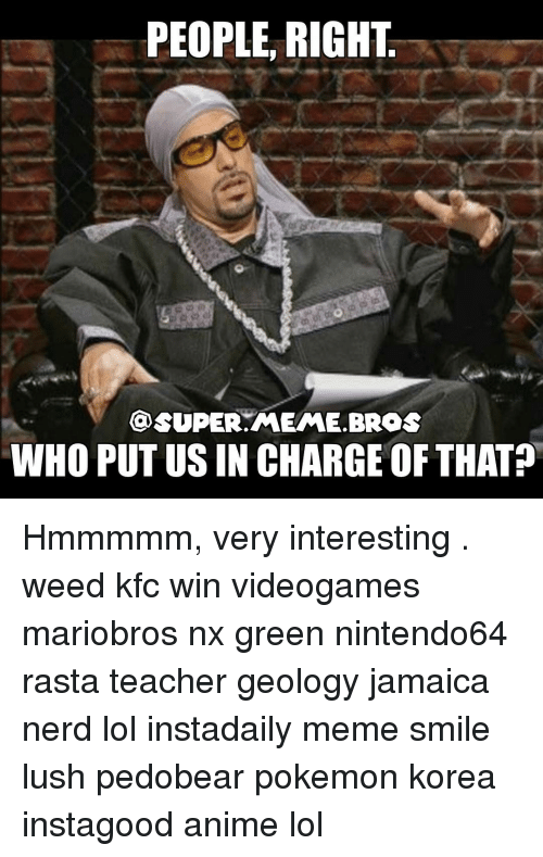 Kfc, Memes, and Nerd: PEOPLE RIGHT  @SUPER MEME BROS  WHO PUTUSIN CHARGEOF THAT Hmmmmm, very interesting . weed kfc win videogames mariobros nx green nintendo64 rasta teacher geology jamaica nerd lol instadaily meme smile lush pedobear pokemon korea instagood anime lol