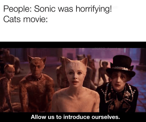 Cats: People: Sonic was horrifying!  Cats movie:  u/NATO Agent  Allow us to introduce ourselves.