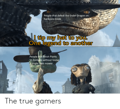 True, Zombies, and Single: People that defeat the Ender Dragon on  hardcore mode  I tip my hat to you,  One legend to another  People that finish Plants  Vs Zombies without losing  a single lawn mower  ERTS The true gamers