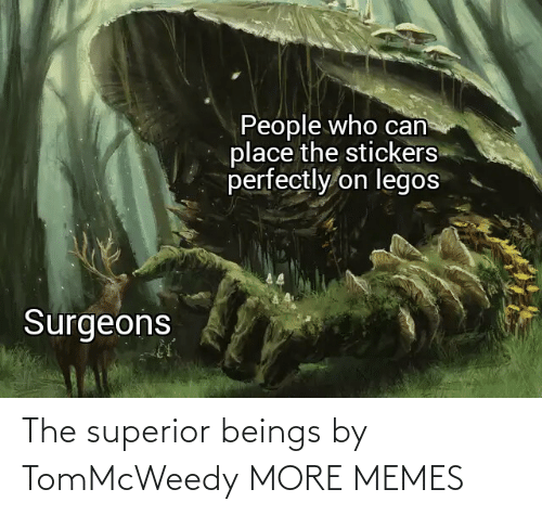 Beings: People who can  place the stickers  perfectly on legos  Surgeons The superior beings by TomMcWeedy MORE MEMES