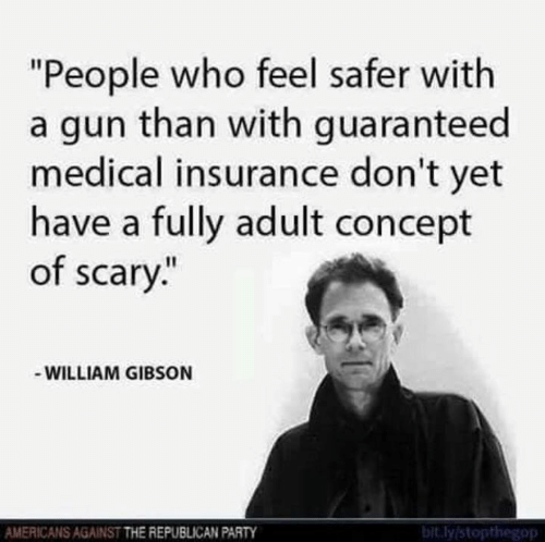 "Memes, Party, and Republican Party: ""People who feel safer with  a gun than with guaranteed  medical insurance don't yet  have a fully adult concept  of scary.""  WILLIAM GIBSON  AMERICANS AGAINST THE REPUBLICAN PARTY  bit.ly stopthegop"