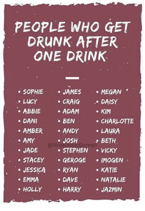 Drunk, Megan, and Memes: PEOPLE WHO GET  DRUNK AFTER  ONE DRINK  SOPHIE JAMES  MEGAN  LUCY  DANI  AMY  DAISY  . CRAIG  . ADAM  BEN  . ANDY  e JOSH  . KIM  . ABBIE  ·AMBER  . JADE  CHARLOTTE  LAURA  BETH  STEPHEN VICKY  STACEY . GEROGE ·IMOGEN  . JESSICA.RYAN  . EMMA  KATIE  .NATALIE  . DAVE  . HARRY JAZMIN  HOLLY