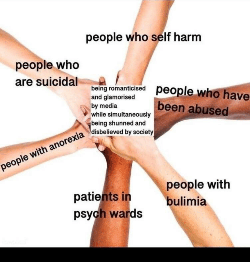 Psych, Been, and Media: people who self harm  people who  are suicidal eng romanicsed people who have  being romanti  and glamorised  by media  while simultaneously  being shunned and  disbelieved by society  been abused  patients in  psych wards  people with  bulimia