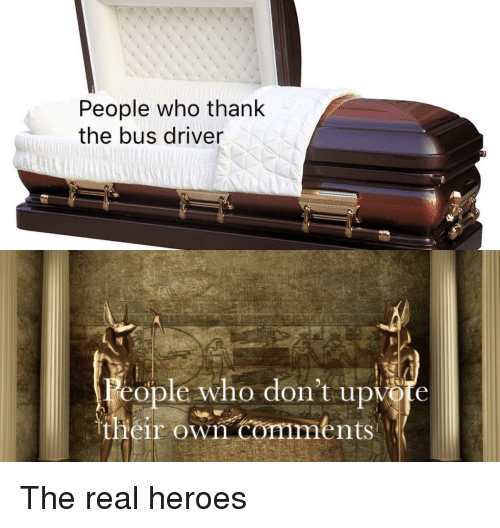 Heroes, The Real, and Dank Memes: People who thank  the bus driver  People who don't upvote  their own comments