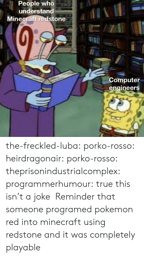 Gif, Minecraft, and Pokemon: People who  understand  Minecraft redstone  Computer  engineers the-freckled-luba: porko-rosso:  heirdragonair:  porko-rosso:   theprisonindustrialcomplex:  programmerhumour: true this isn't a joke      Reminder that someone programed pokemon red into minecraft using redstone and it was completely playable