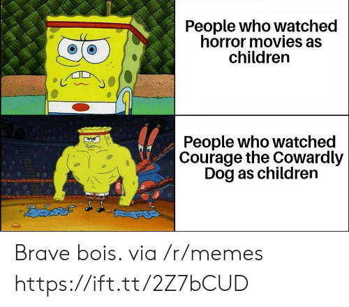 Horror Movies: People who watched  horror movies as  children  People who watched  Courage the Cowardly  Dog as children  డదేపతో Brave bois. via /r/memes https://ift.tt/2Z7bCUD