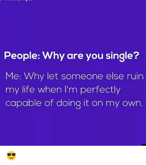 Why Are You Single: People: Why are you single?  Me: Why let someone else ruin  my life when I'm perfectly  capable of doing it on my own 😎