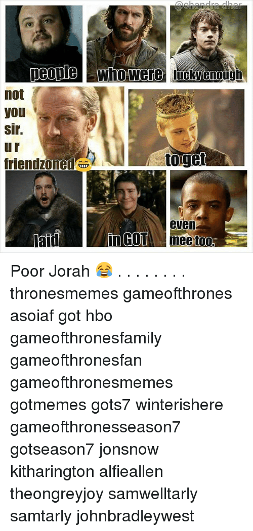 Hbo, Memes, and Asoiaf: peoplwho were luckyenough  not  you  sir.  u r  riendzoned u  toget  even  aid  nGO& meetoo Poor Jorah 😂 . . . . . . . . thronesmemes gameofthrones asoiaf got hbo gameofthronesfamily gameofthronesfan gameofthronesmemes gotmemes gots7 winterishere gameofthronesseason7 gotseason7 jonsnow kitharington alfieallen theongreyjoy samwelltarly samtarly johnbradleywest