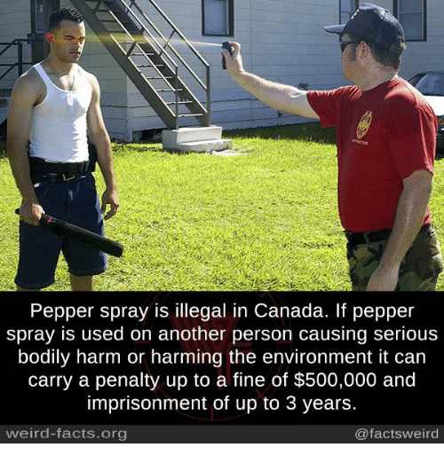 Canadã¡: Pepper spray is illegal in Canada. If pepper  spray is used on another person causing serious  bodily harm or harming the environment it can  carry a penalty up to a fine of $500,000 and  imprisonment of up to 3 years.  weird-facts org  @facts weird