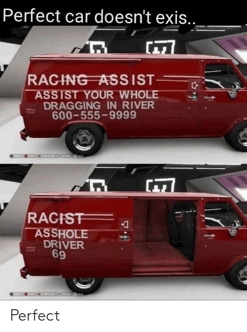 Asshole, Car, and River: Perfect car doesn't exis...  RAGING ASSIST  ASSIST YOUR WHOLE  DRAGGING IN RIVER  600-555-9999  RAGIST  ASSHOLE  DRIVER  9 Perfect